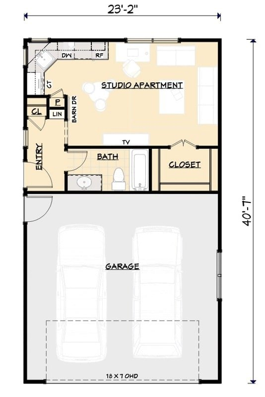 Entire floor plan of a 1-bedroom single-story carriage home with a foyer, full bath, a studio apartment, and a double garage.