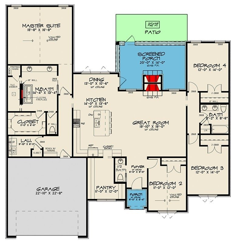 Entire floor plan of a 4-bedroom single-story Northwest New American home with foyer, great room, kitchen, dining area that extends to the screened porch, laundry room, and four bedrooms including the primary suite.