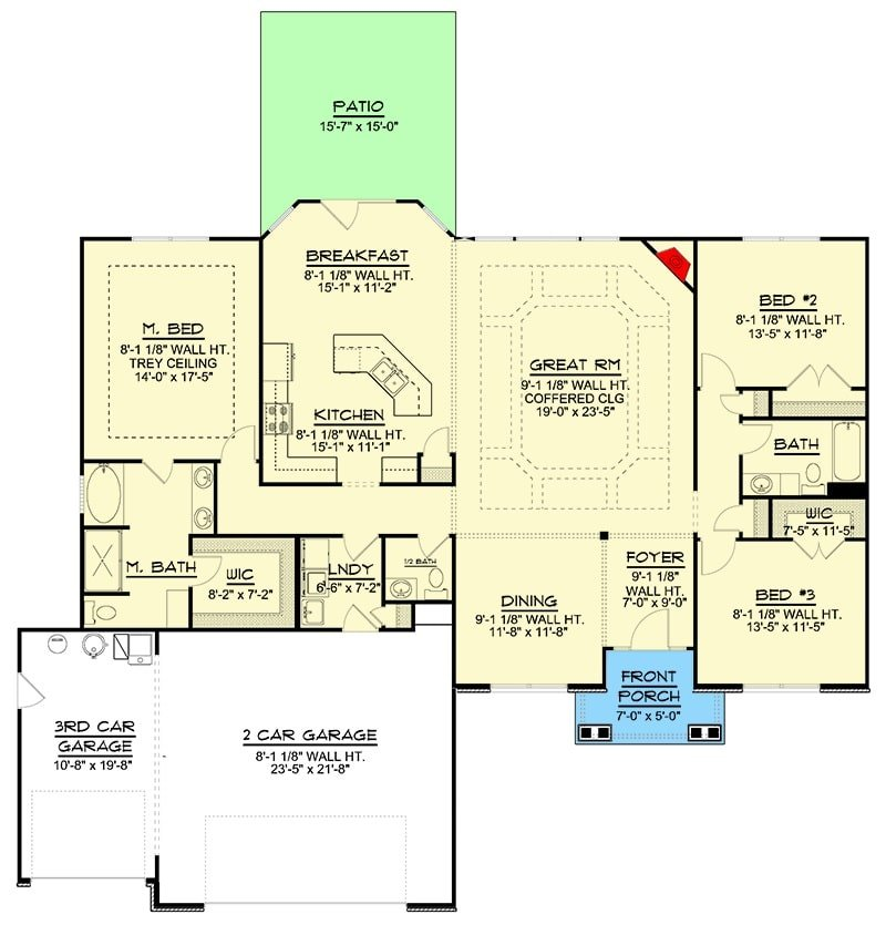 Entire floor plan of a single-story 3-bedroom Northwest ranch with foyer, formal dining room, great room, kitchen, breakfast nook that opens to the rear patio, three bedrooms, and a laundry room leafing to the three-car garage.