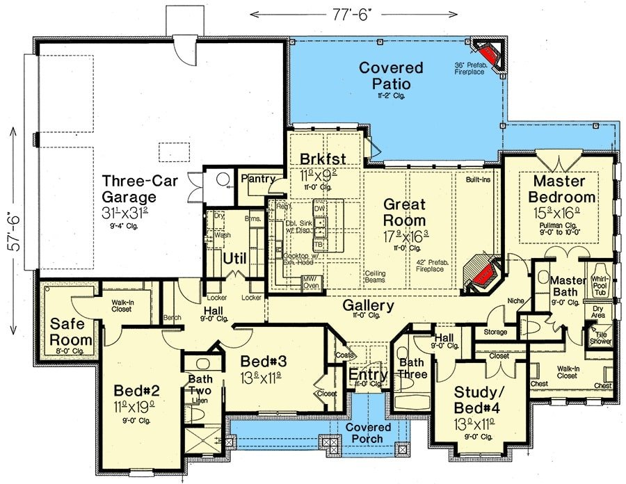 Entire floor plan of a single-story 4-bedroom hill country home with front and rear porches, foyer, great room, kitchen with breakfast nook, four bedrooms, utility room, and a three-car garage.