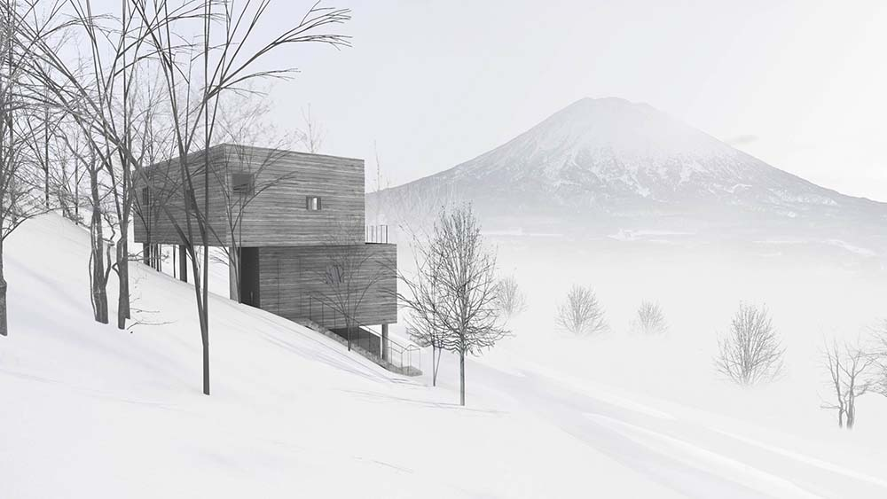 This is a far look at the house during winter. This shows the lay of the land and how the structures of the house stand out.