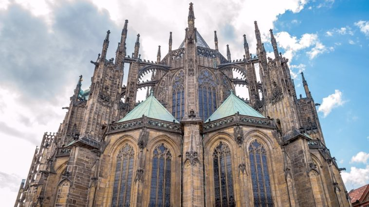 This is a close look at a gothic-style Roman Catholic church.