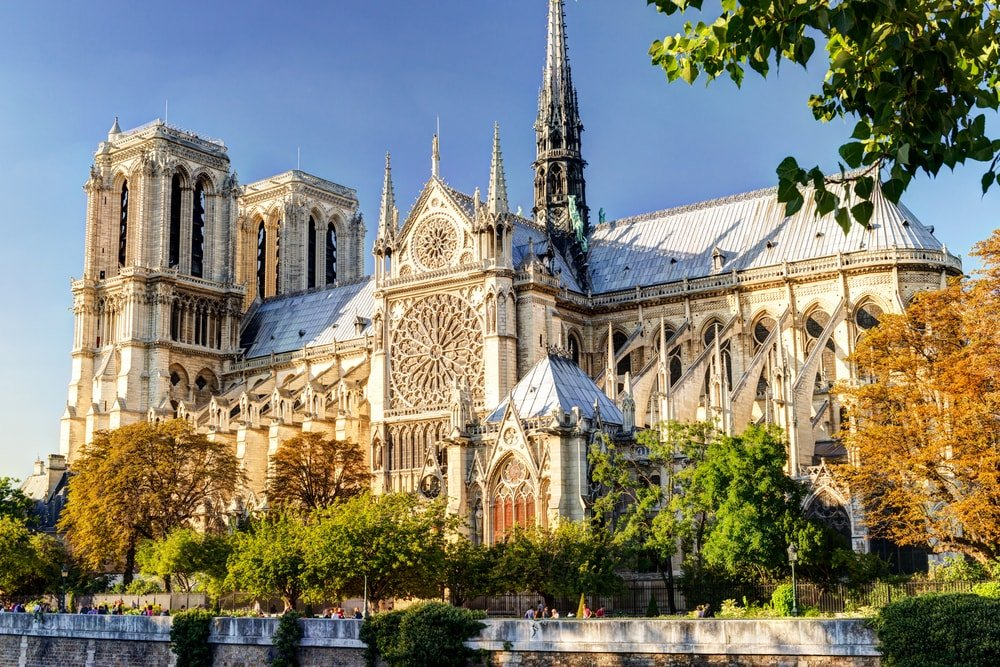 This is a full view of the Notre Dame de Paris cathedral in France.