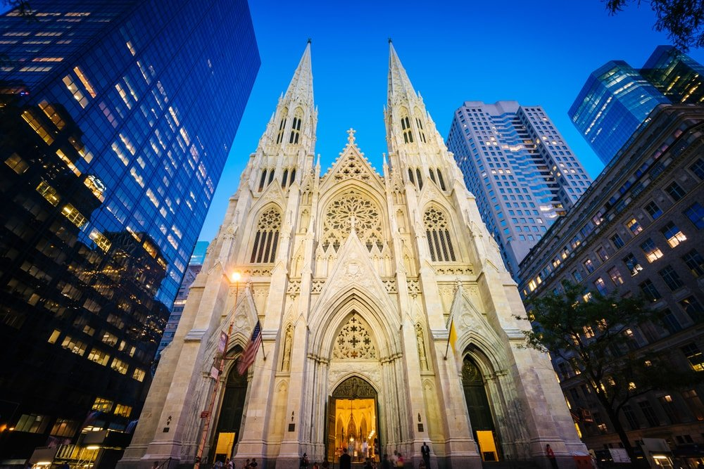This is a close look at the St. Patrick's Cathedral at night, in Manhattan, New York.