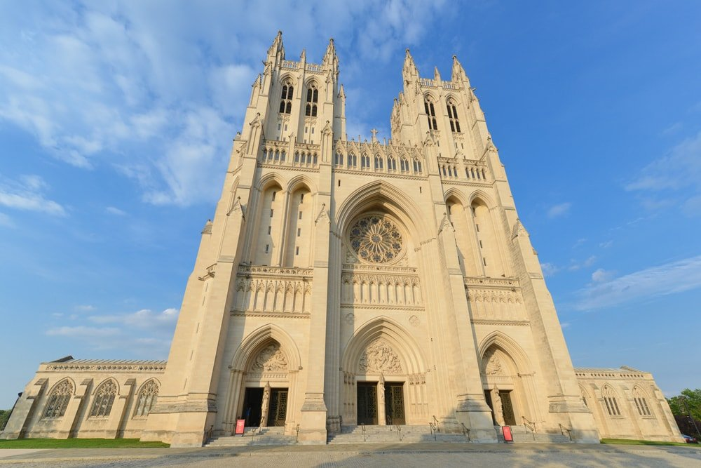 This is a full view of the National Cathedral Church in Washington DC.