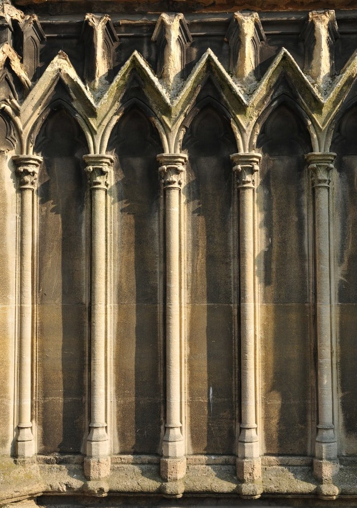 A close look at the architectural details of a gothic structure.