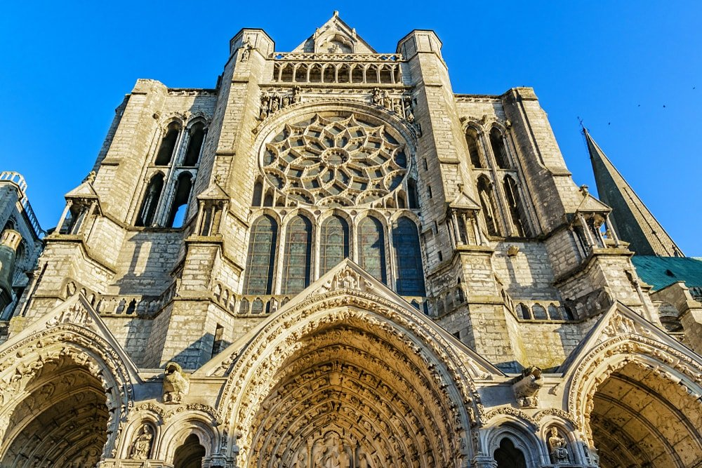 This is a close look at the gothic-style Chartres Cathedral in France.