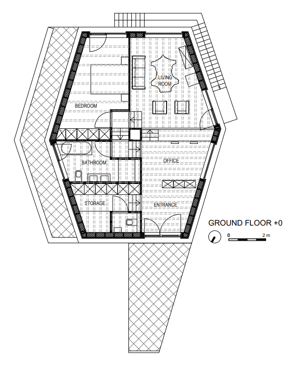 This is the illustration of the ground level floor plan.