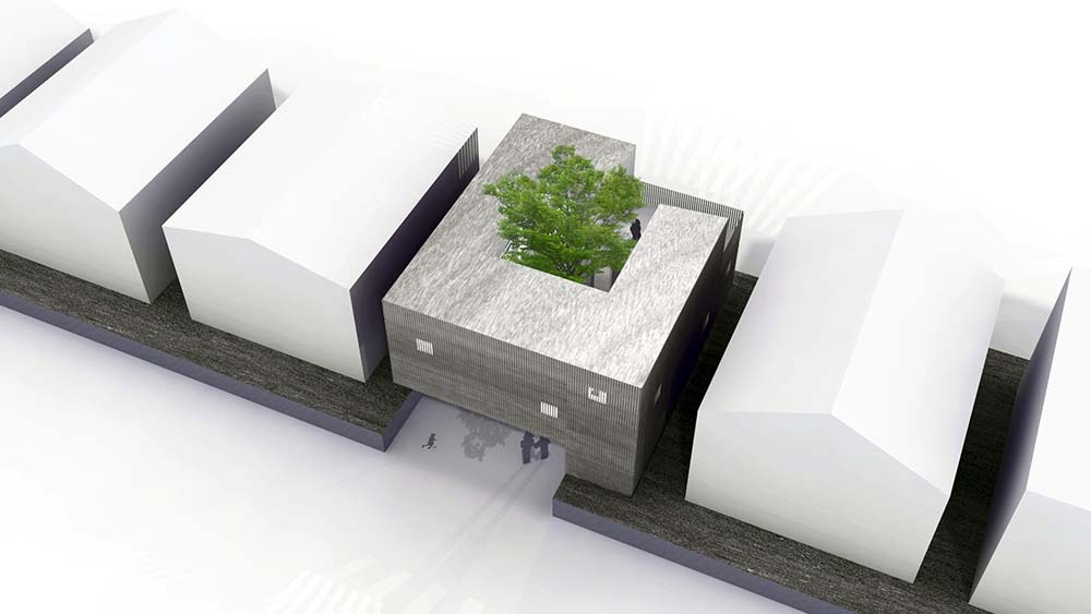 This is an aerial illustration of the house showcasing the shape, design and position of the house.