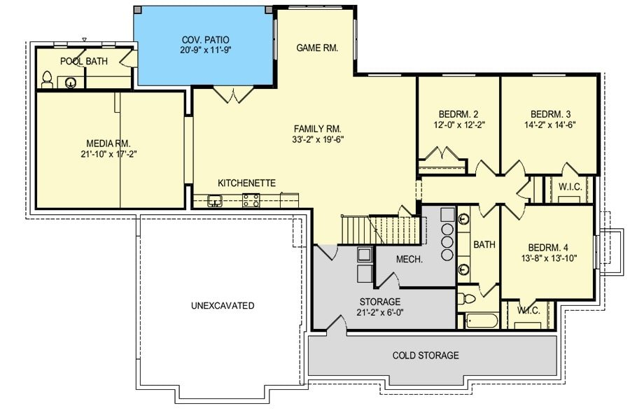 Lower level floor plan with three bedrooms, media room, game room, and family room with kitchenette and covered patio access.