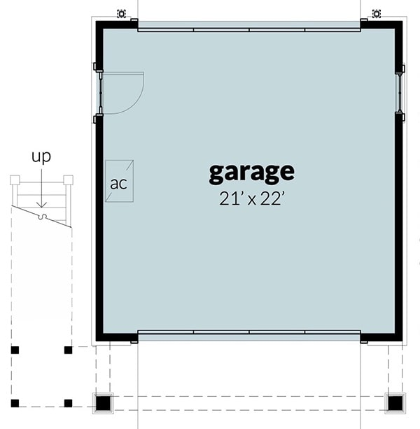 Main level floor plan of a 1-bedroom two-story Southern carriage home with a double garage.
