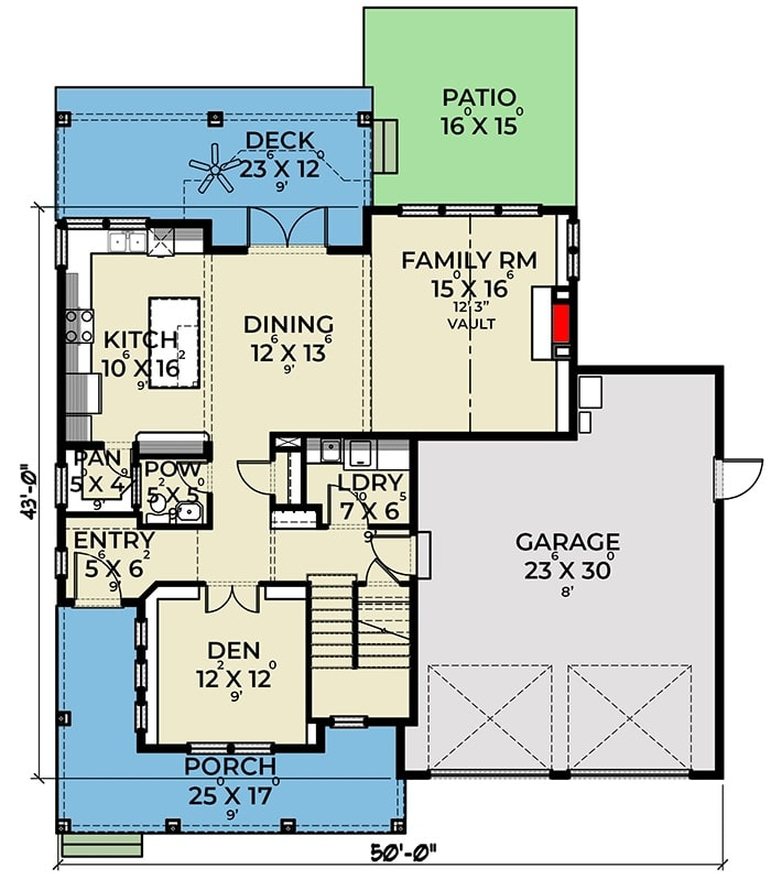 Main level floor plan of a 3-bedroom two-story New American home with entry porch, foyer, den, laundry room, family room, kitchen, and dining area that extends to the rear deck.