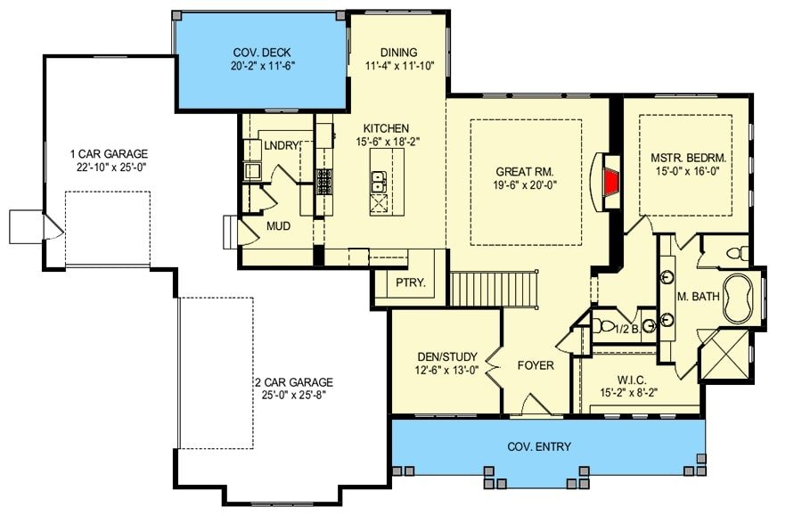 Main level floor plan of a 4-bedroom single-story New American home with entry porch, foyer, great room, kitchen, dining that extends to the covered deck, laundry room, den/study. primary suite, and a mudroom leading to the three-car garage.