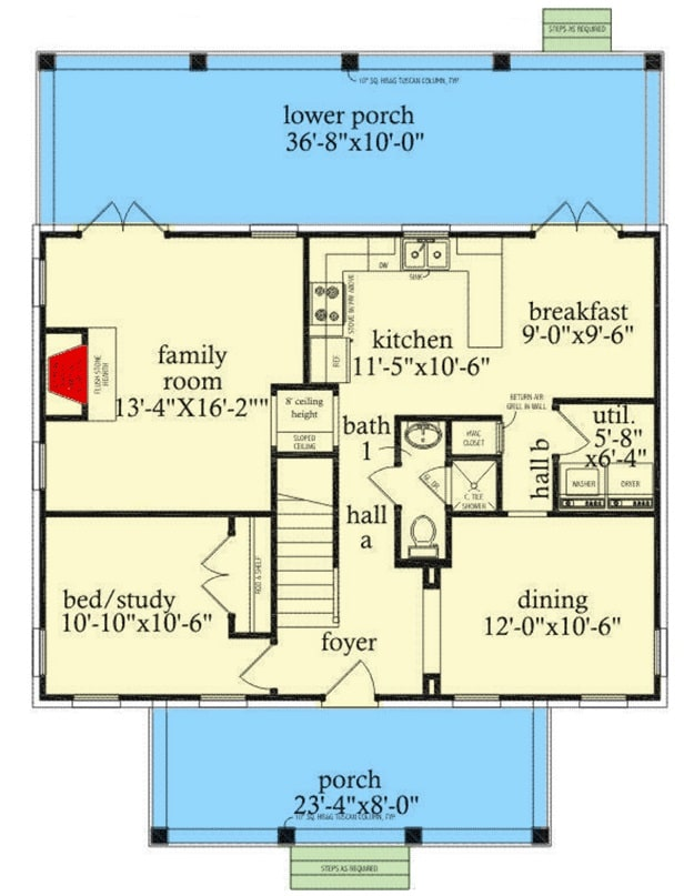 Main level floor plan of a 4-bedroom two-story Southern traditional home with front and back porches, foyer, kitchen with breakfast nook, formal dining room, family room, and a flexible bedroom/study.