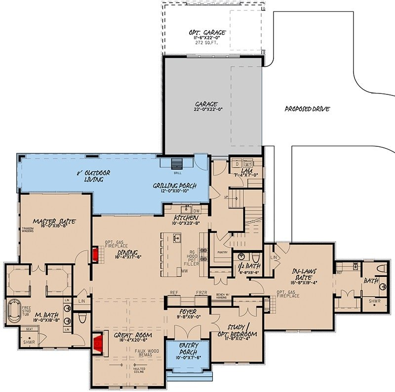 Main level floor plan of a 5-bedroom two-story French country-inspired home with front and rear porches, foyer, great room, kitchen, dining area, laundry room, and three bedrooms including the flexible study, primary, and in-law suites.