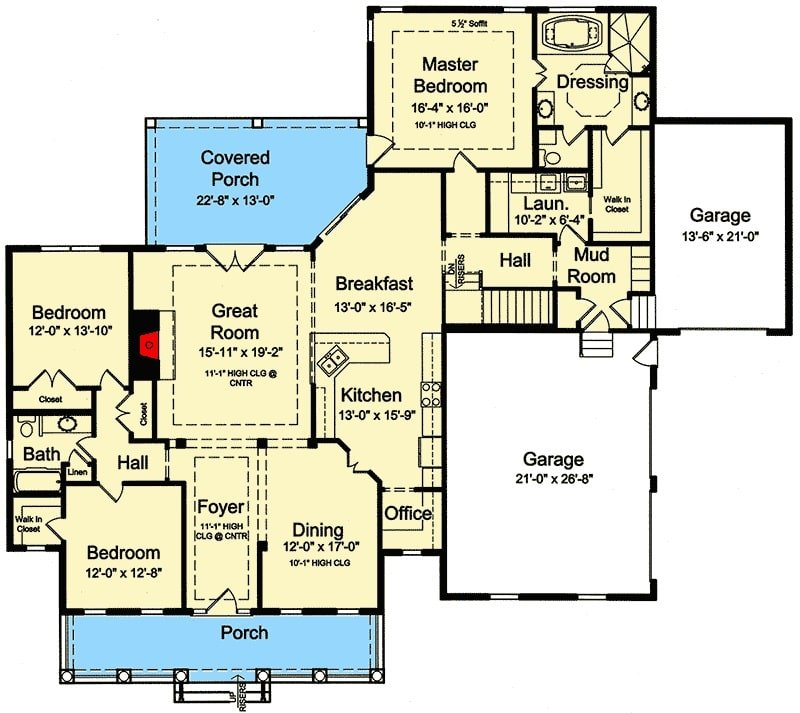 Main level floor plan of a single-story 3-bedroom country home with front and rear porches, foyer, great room, kitchen with breakfast nook, formal dining room, three bedrooms, laundry room, and a mudroom leading to the garages.