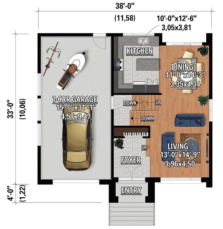 Main level floor plan of a two-story 2-bedroom Northwest home with foyer, living room, dining area, kitchen, and a mudroom leading to the single garage.