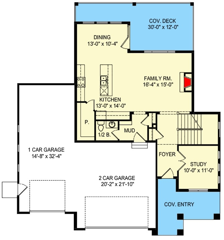 Main level floor plan of a two-story 4-bedroom country craftsman home with a front and rear porches, foyer, family room, kitchen, dining area, study, and a mudroom leading the 3-car garage.
