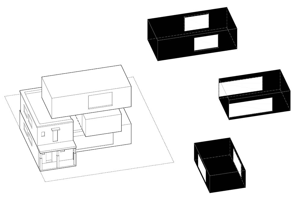This is an illustration of the house's concept and design with three boxes.