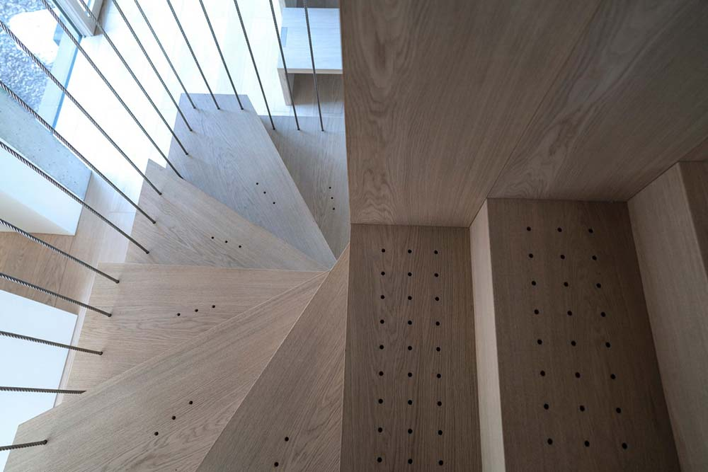 This is a close look at the wooden steps of the staircase.