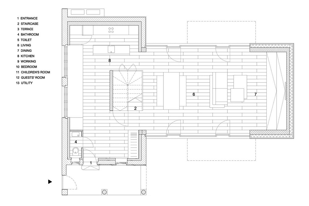 This is an illustration of the house's floor plan showcasing the different sections of the house.