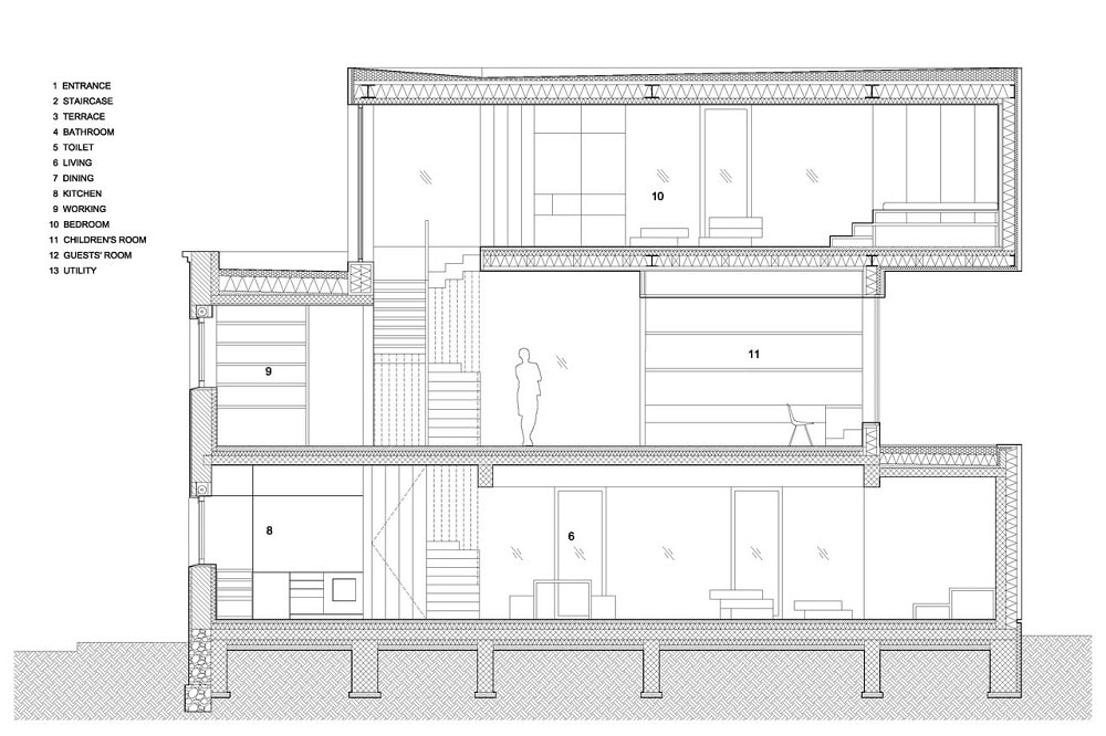This is an illustration of the house's elevation showcasing the different sections of the house.