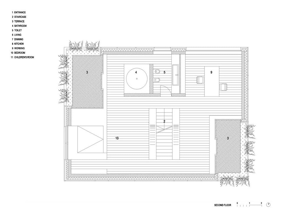This is an illustration of the house's second level floor plan.