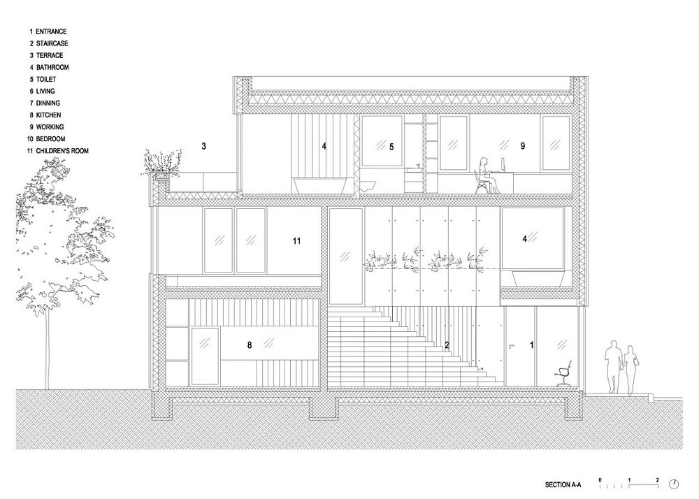 This is an illustration of the house's section A elevation.