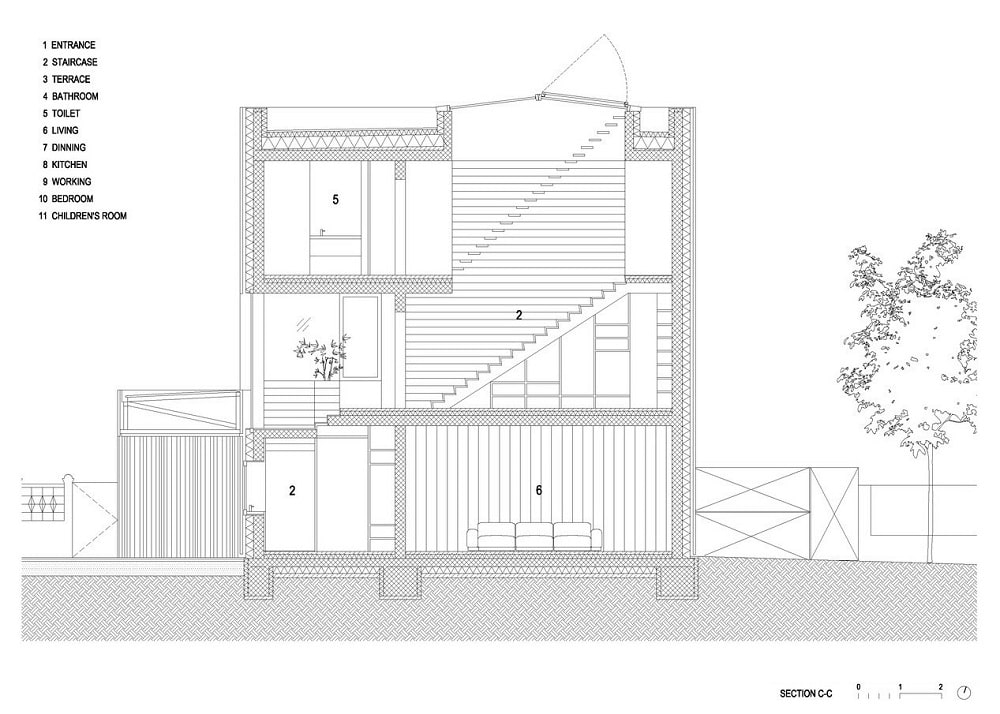 This is an illustration of the house's section C elevation.