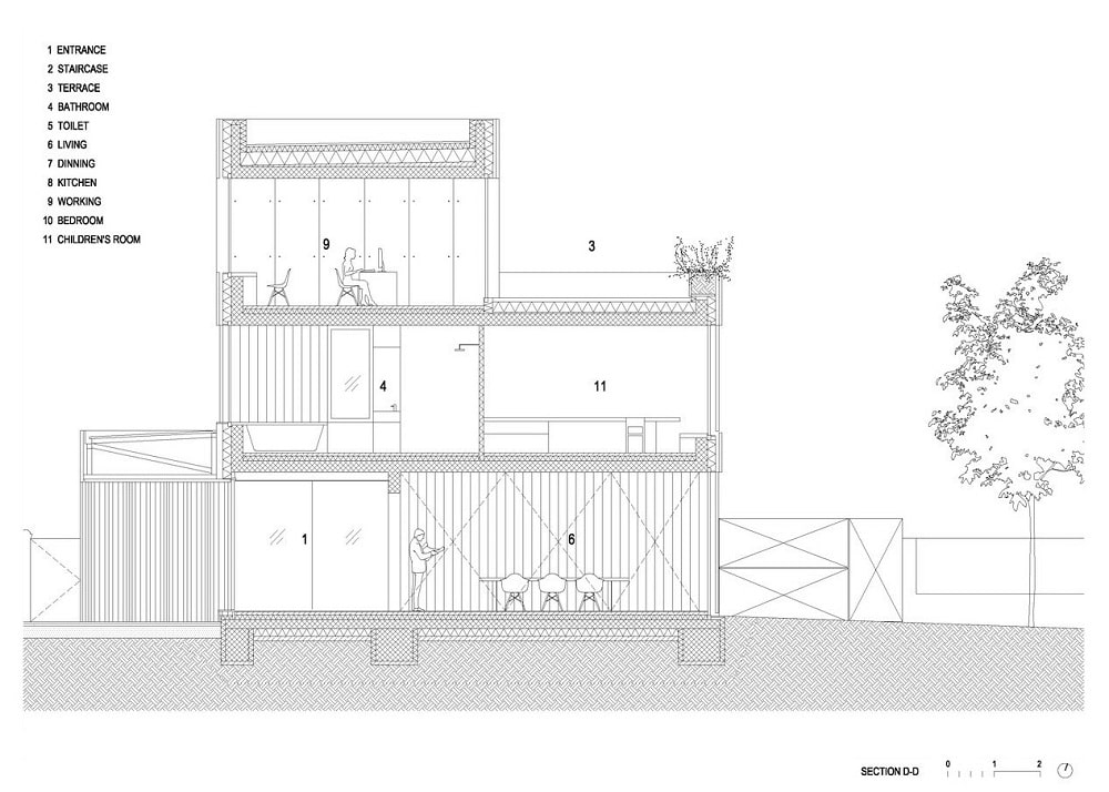 This is an illustration of the house's section D elevation.