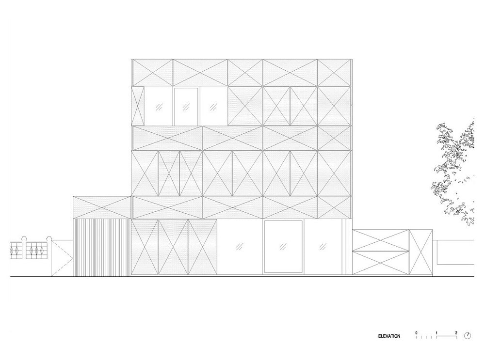 This is an illustration of the house's west elevation.