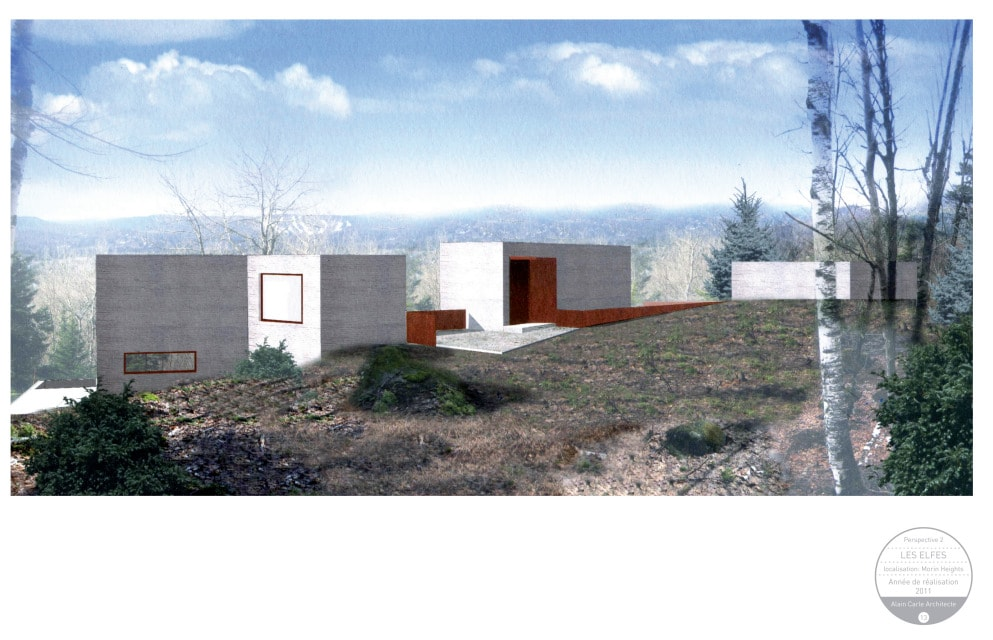 This is a graphic illustration of the house's perspective with the three structures.