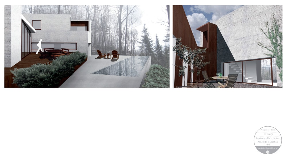 These are dual view of the house's perspective for the outdoor areas.