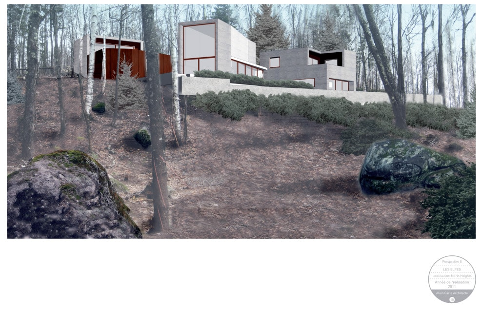 This is a graphic illustration of the house from the vantage of the back landscape.