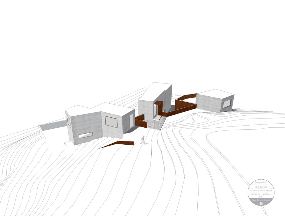This is an illustration of the house's perspective showcasing the three structures.
