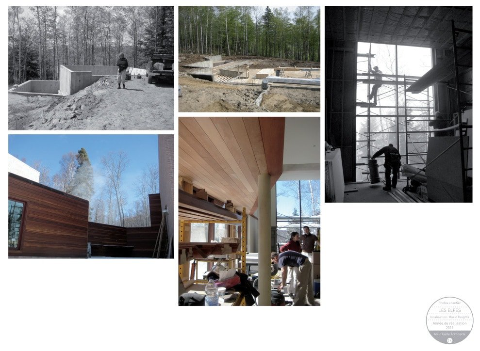 This is a montage of images from the construction of the house.