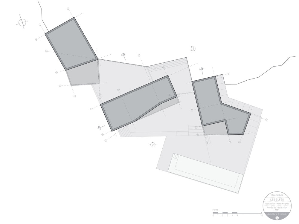 This is an illustrated representation of the site plan showcasing the positions and angles of the structures.