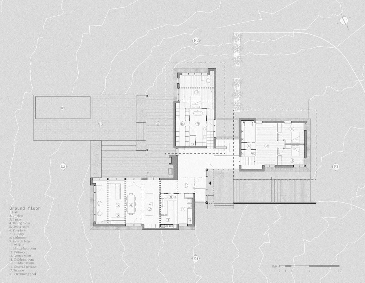 This is an illustrated view of the ground level floor plan.