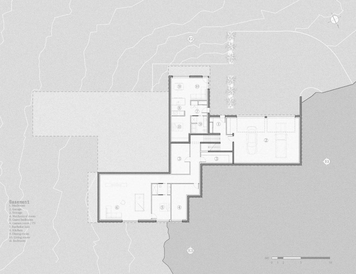 This is an illustrated view of the basement level floor plan.