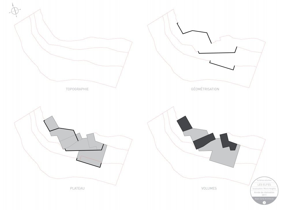 This is an illustration of the house's schema and volumes side by side for comparison.