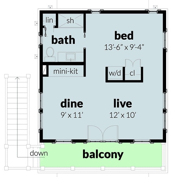 Second level floor plan with a bedroom, a full bath, mini-kitchen, dining area, and living room that extends to the wide balcony.