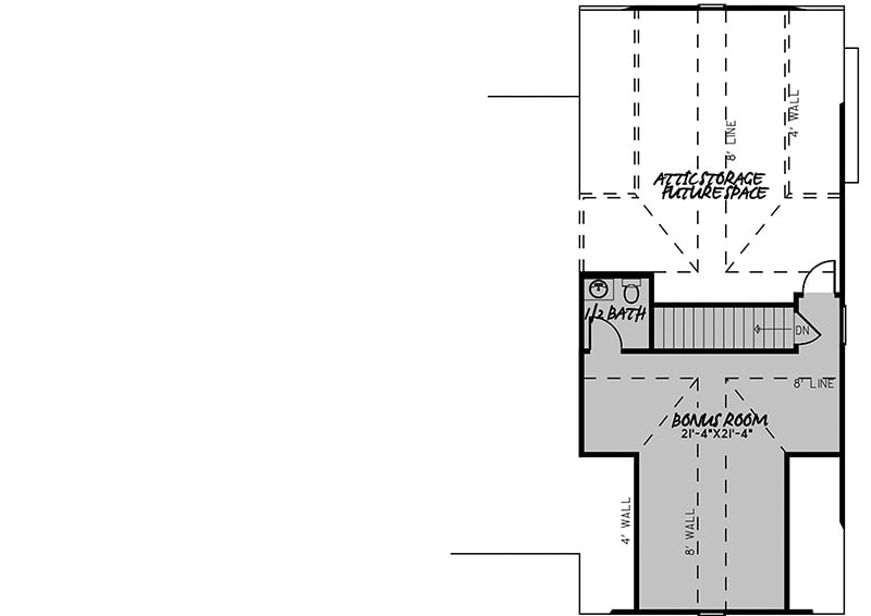 Second level floor plan with a bonus room that comes with a powder bath.