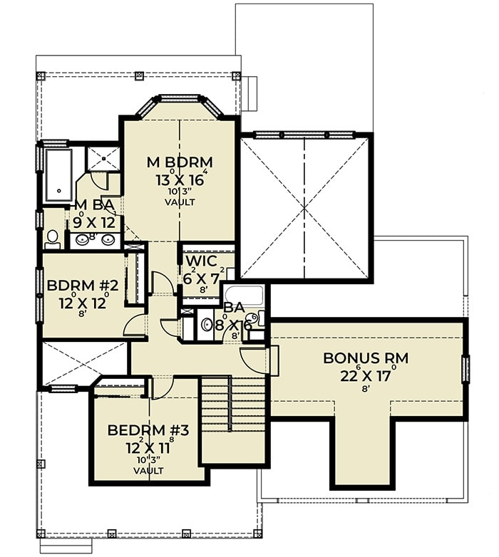 Second level floor plan with three bedrooms and a bonus room.