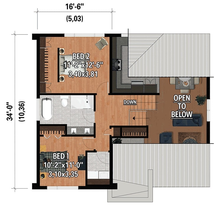 Second level floor plan with two bedrooms, a shared full bath, and laundry room.