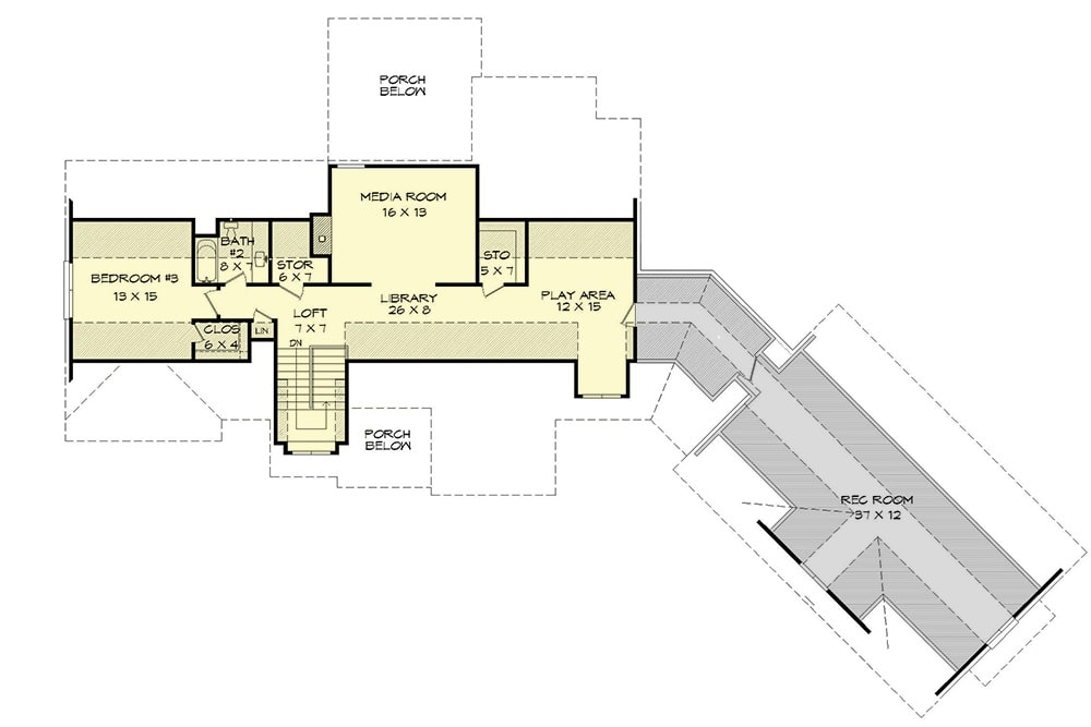 Second level floor plan with a bedroom, media room, a loft, library, and play area.