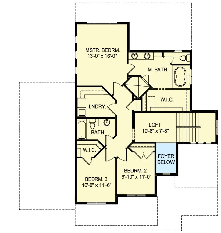 Second level floor plan with a loft, laundry room, and three bedrooms including the primary bedroom.