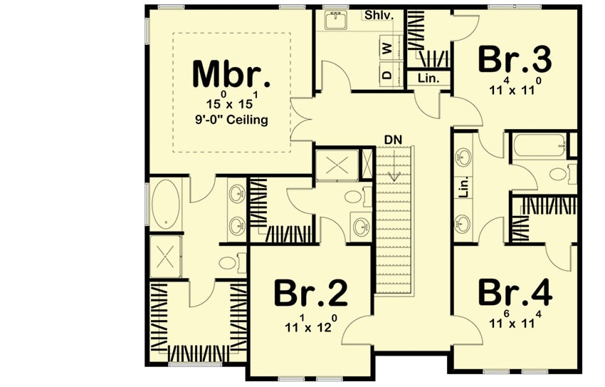 Second level floor plan with a laundry room and four bedrooms including the primary suite.