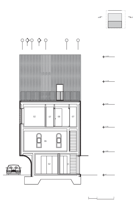 This is the illustrated view of the section one cross section of the house showcasing the different areas and floors of the house.