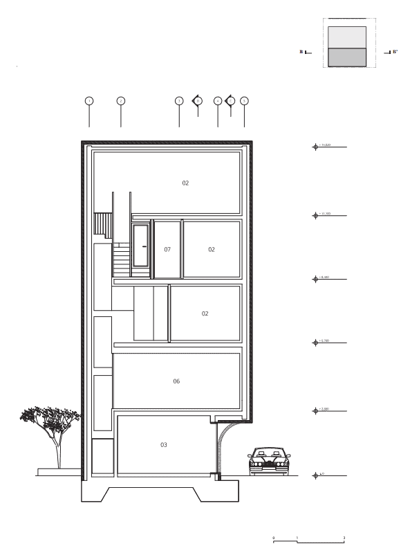 This is the illustrated view of the section two cross section of the house showcasing the different areas and floors of the house.
