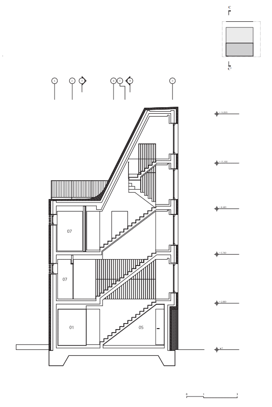 This is the illustrated view of the section three cross section of the house showcasing the different areas and floors of the house.